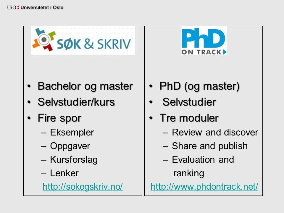 Bachelor og masterBachelor og master Selvstudier/kursSelvstudier/kurs Fire sporFire spor –Eksempler –Oppgaver –Kursforslag –Lenker http://sokogskriv.no/ PhD (og master)PhD (og master) Selvstudier Selvstudier Tre modulerTre moduler –Review and discover –Share and publish –Evaluation and ranking http://www.phdontrack.net/