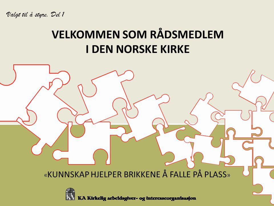 « KUNNSKAP HJELPER BRIKKENE Å FALLE PÅ PLASS » VELKOMMEN SOM RÅDSMEDLEM I DEN NORSKE KIRKE Valgt til å styre, Del 1