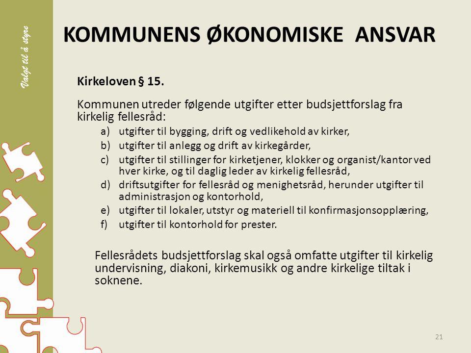 KOMMUNENS ØKONOMISKE ANSVAR Kirkeloven § 15.