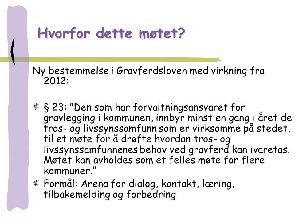 """Hvorfor dette møtet? Ny bestemmelse i Gravferdsloven med virkning fra 2012: § 23: """"Den som har forvaltningsansvaret for gravlegging i kommunen, innbyr"""