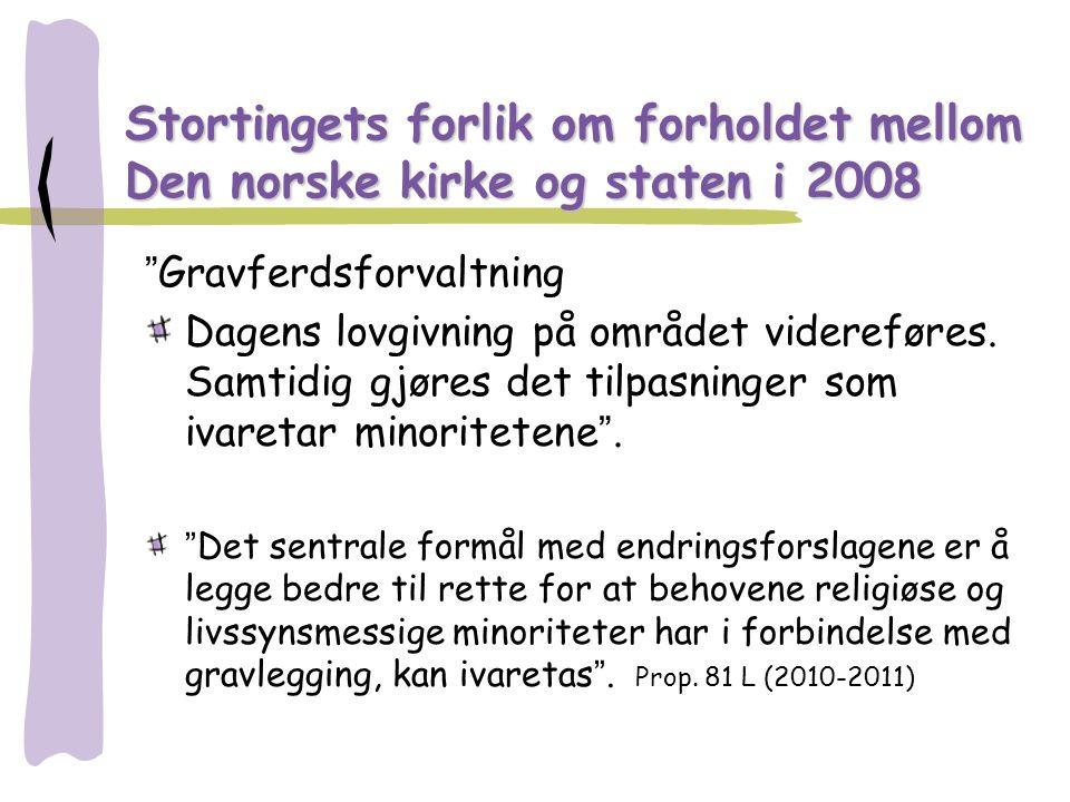 "Stortingets forlik om forholdet mellom Den norske kirke og staten i 2008 ""Gravferdsforvaltning Dagens lovgivning på området videreføres. Samtidig gjør"