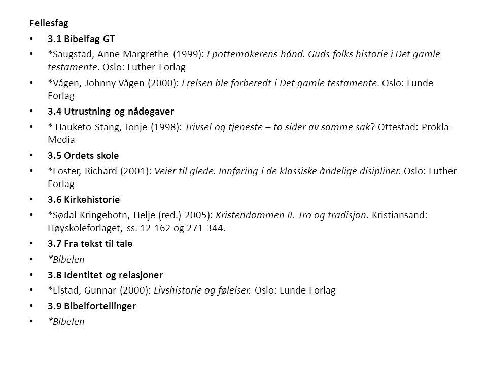 Fellesfag 3.1 Bibelfag GT *Saugstad, Anne-Margrethe (1999): I pottemakerens hånd. Guds folks historie i Det gamle testamente. Oslo: Luther Forlag *Våg