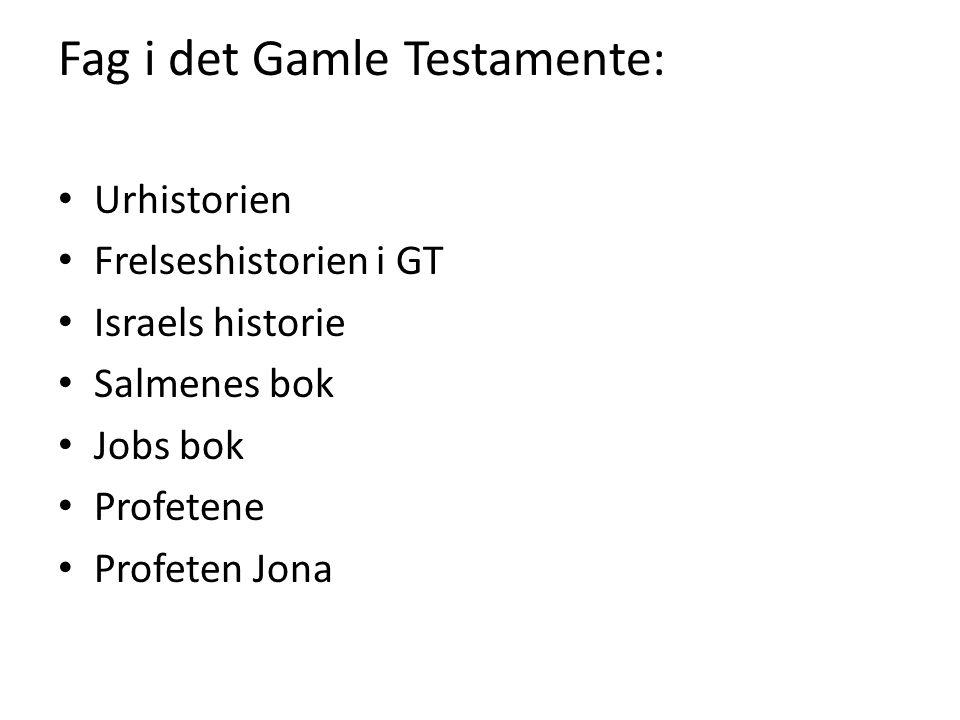 Fag i det Gamle Testamente: Urhistorien Frelseshistorien i GT Israels historie Salmenes bok Jobs bok Profetene Profeten Jona