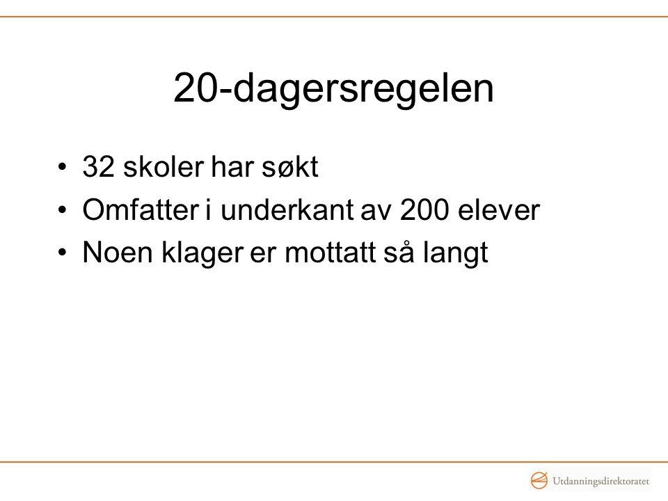 20-dagersregelen 32 skoler har søkt Omfatter i underkant av 200 elever Noen klager er mottatt så langt
