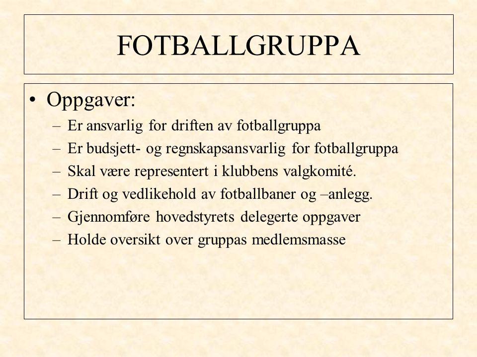 FOTBALLGRUPPA Oppgaver: –Er ansvarlig for driften av fotballgruppa –Er budsjett- og regnskapsansvarlig for fotballgruppa –Skal være representert i klubbens valgkomité.
