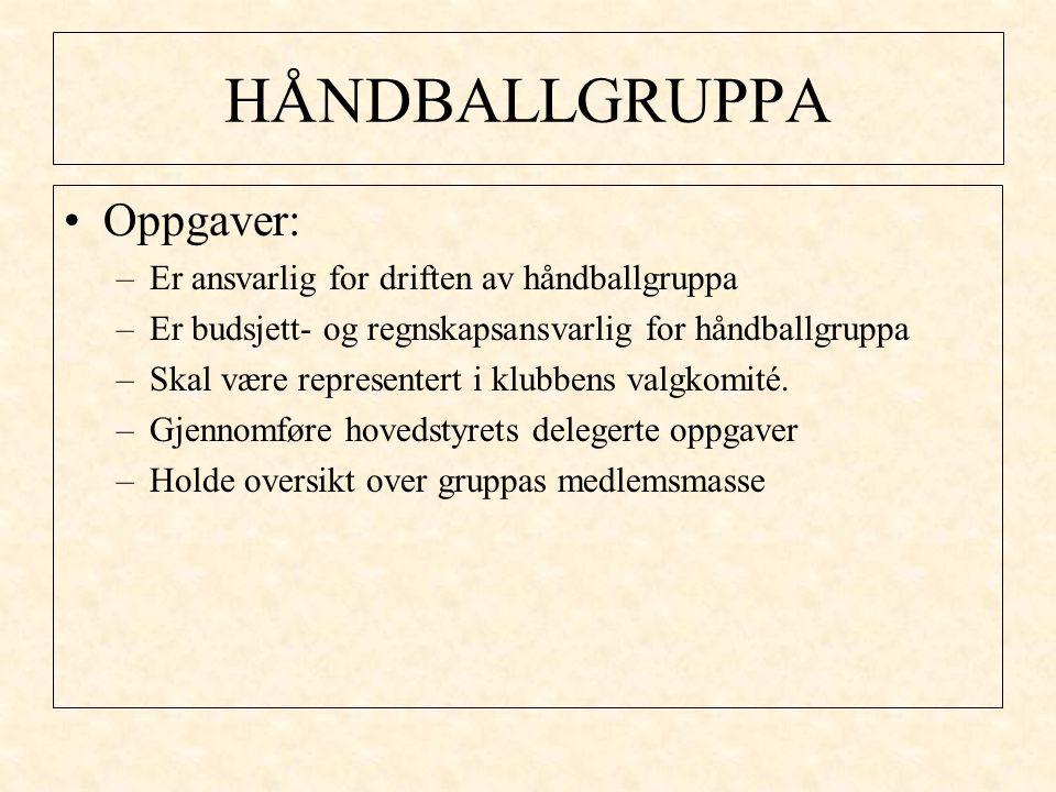 HÅNDBALLGRUPPA Oppgaver: –Er ansvarlig for driften av håndballgruppa –Er budsjett- og regnskapsansvarlig for håndballgruppa –Skal være representert i klubbens valgkomité.