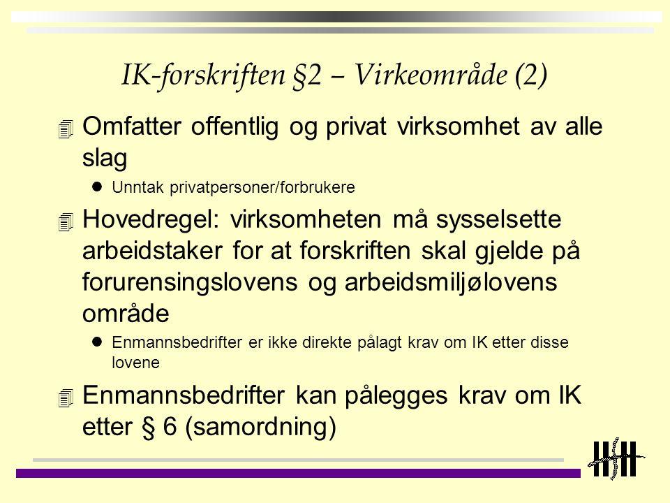 IK-forskriften §2 – Virkeområde (2) 4 Omfatter offentlig og privat virksomhet av alle slag Unntak privatpersoner/forbrukere 4 Hovedregel: virksomheten