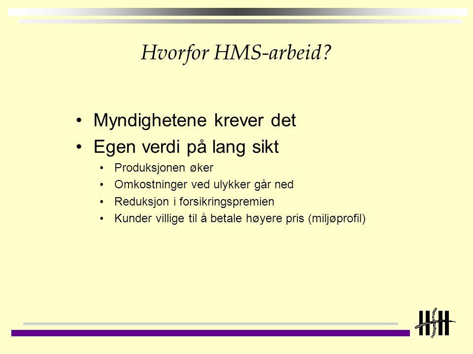 Forutsetninger for et godt HMS-arbeid God og synlig HMS-ledelse HMS-styringssystem HMS-kompetanse