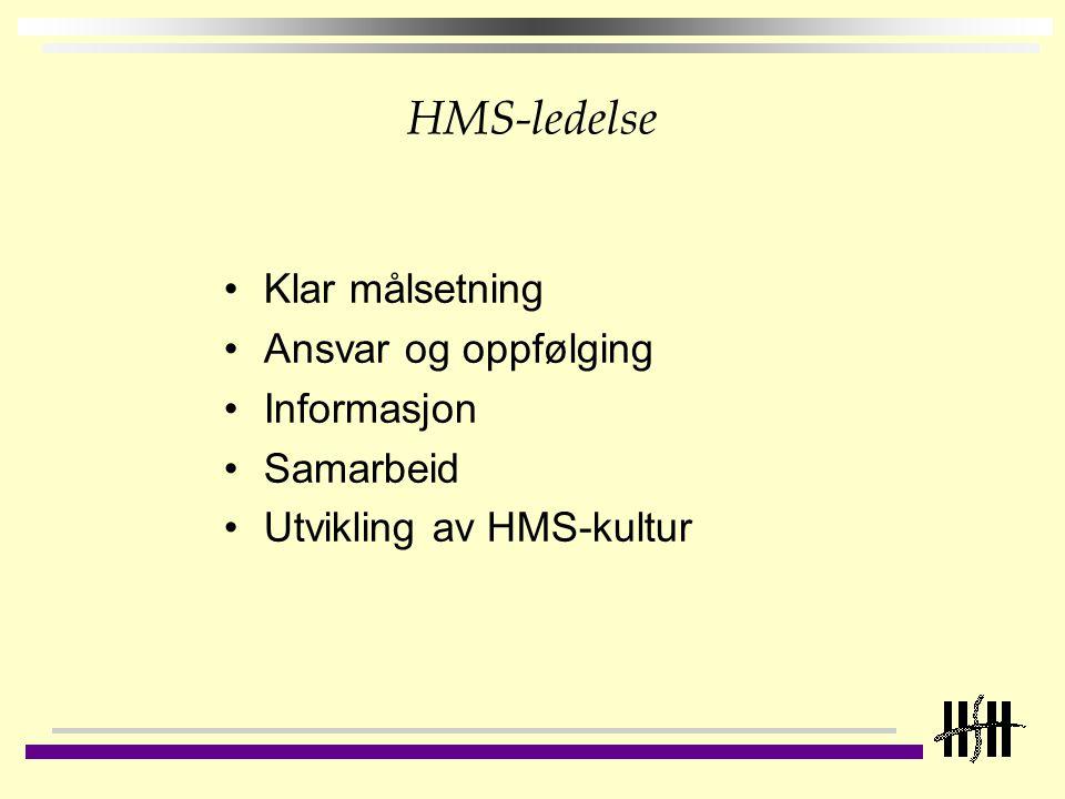HMS-ledelse Klar målsetning Ansvar og oppfølging Informasjon Samarbeid Utvikling av HMS-kultur