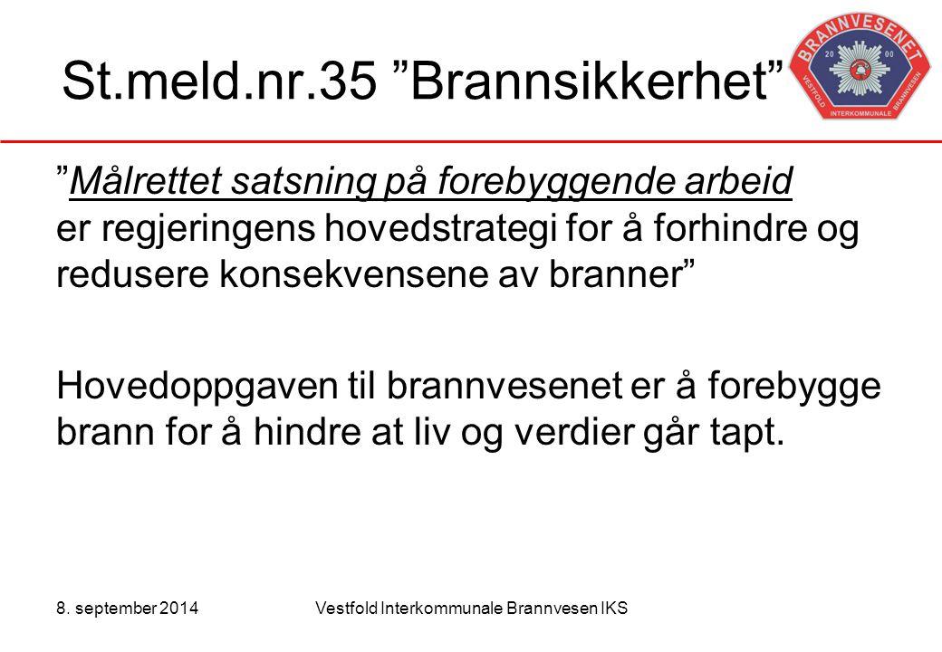 """8. september 2014Vestfold Interkommunale Brannvesen IKS St.meld.nr.35 """"Brannsikkerhet"""" """"Målrettet satsning på forebyggende arbeid er regjeringens hove"""