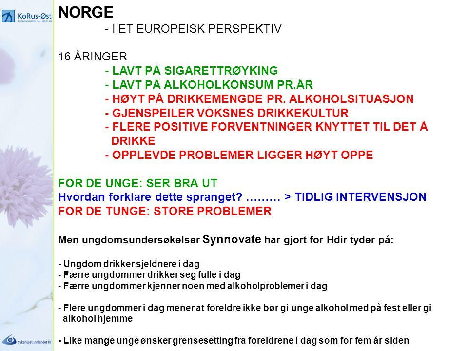 NORGE - I ET EUROPEISK PERSPEKTIV 16 ÅRINGER - LAVT PÅ SIGARETTRØYKING - LAVT PÅ ALKOHOLKONSUM PR.ÅR - HØYT PÅ DRIKKEMENGDE PR. ALKOHOLSITUASJON - GJE
