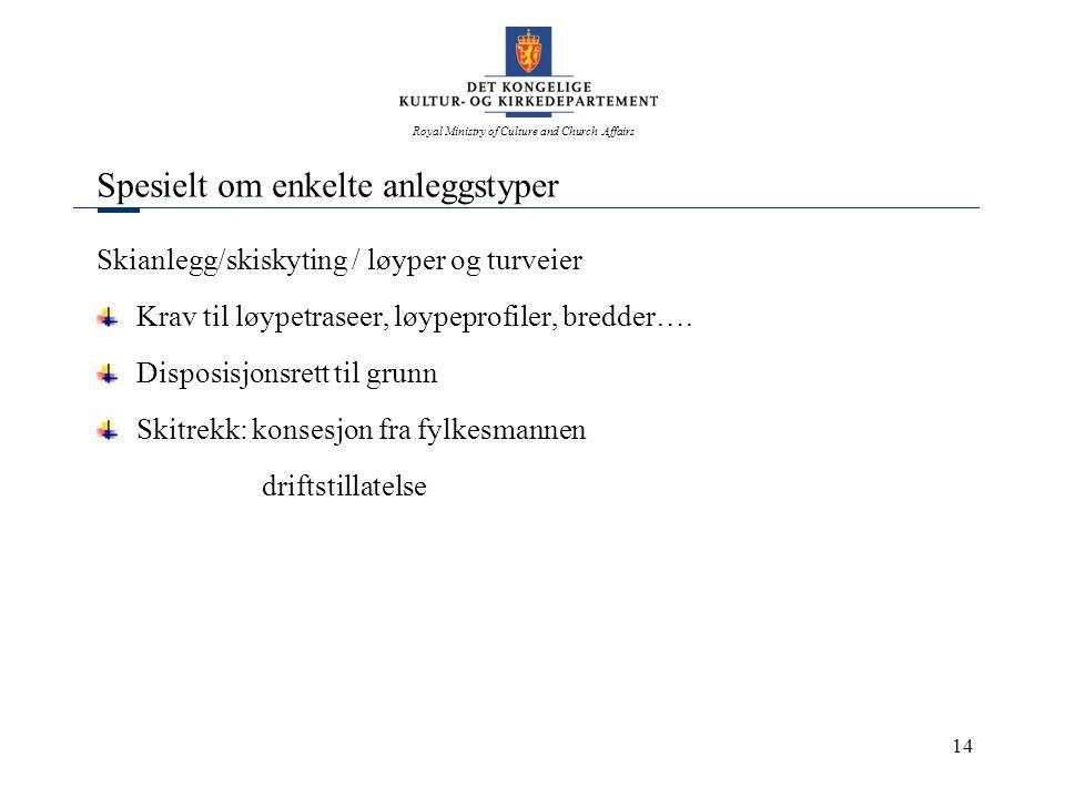 Royal Ministry of Culture and Church Affairs 14 Spesielt om enkelte anleggstyper Skianlegg/skiskyting / løyper og turveier Krav til løypetraseer, løyp