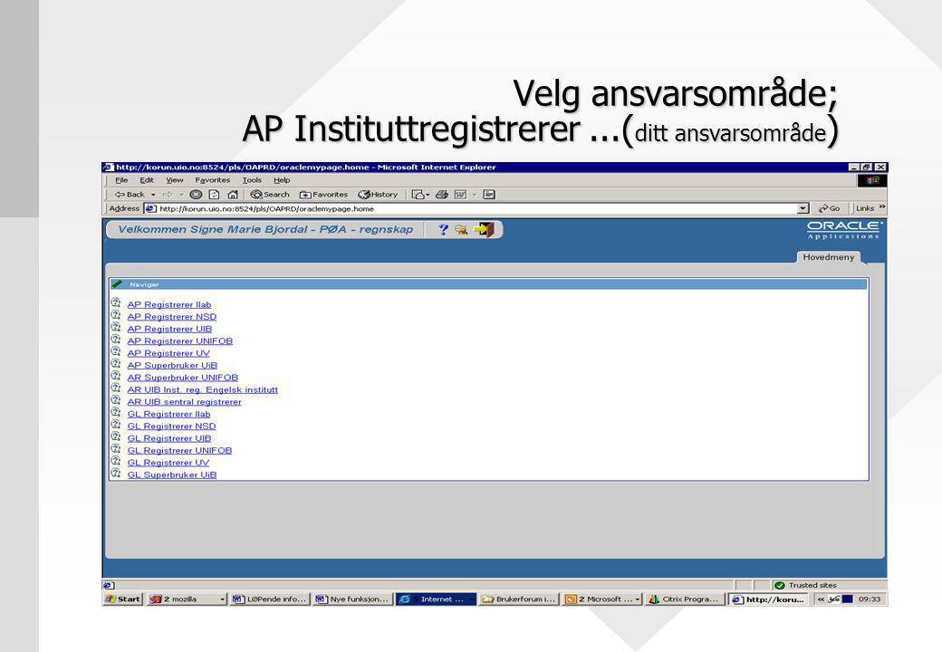 Velg ansvarsområde; AP Instituttregistrerer...( ditt ansvarsområde )
