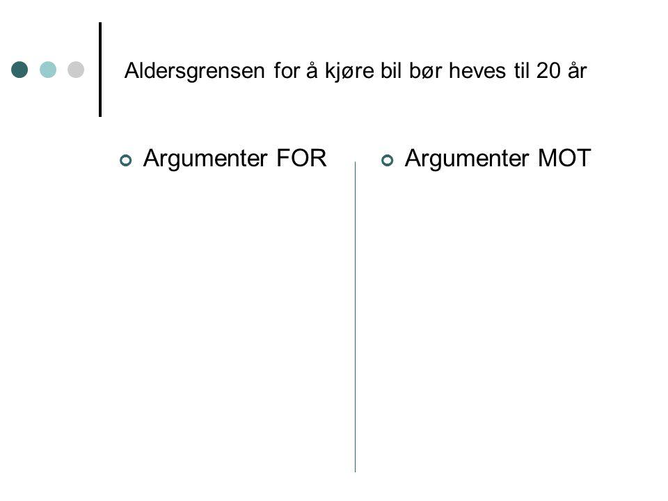 Aldersgrensen for å kjøre bil bør heves til 20 år Argumenter FORArgumenter MOT