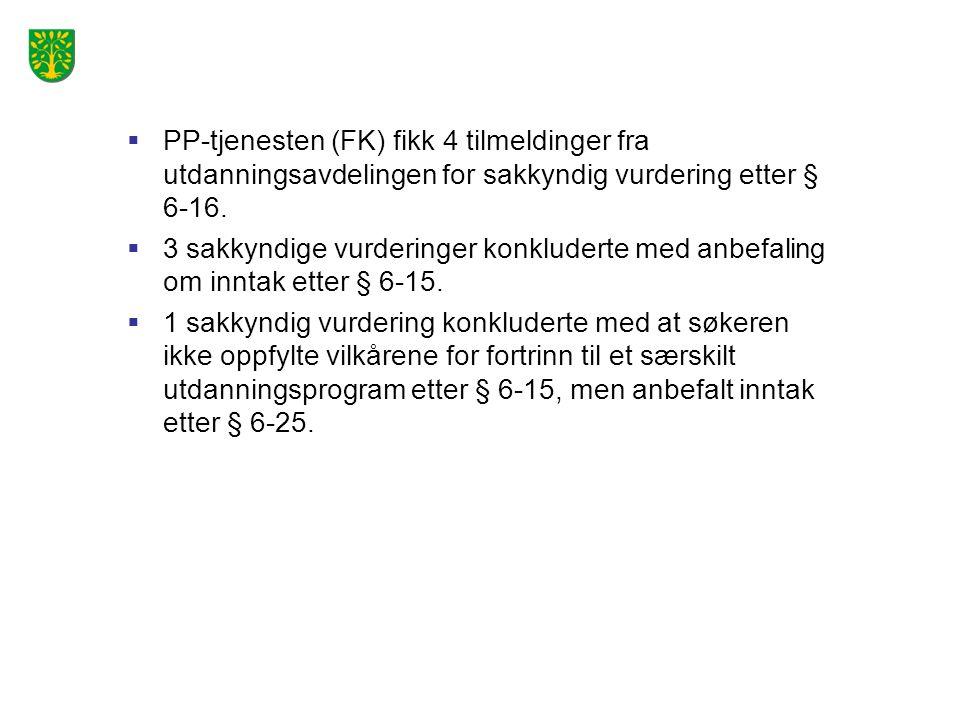  PP-tjenesten (FK) fikk 4 tilmeldinger fra utdanningsavdelingen for sakkyndig vurdering etter § 6-16.  3 sakkyndige vurderinger konkluderte med anbe