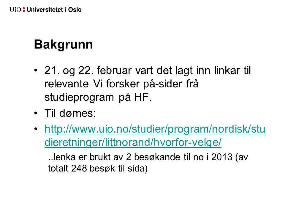 Bakgrunn 21. og 22. februar vart det lagt inn linkar til relevante Vi forsker på-sider frå studieprogram på HF. Til dømes: http://www.uio.no/studier/p