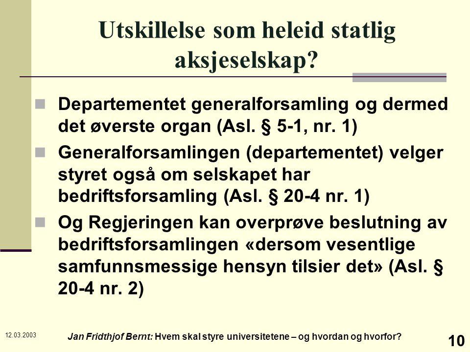 12.03.2003 Jan Fridthjof Bernt: Hvem skal styre universitetene – og hvordan og hvorfor? 10 Utskillelse som heleid statlig aksjeselskap? Departementet