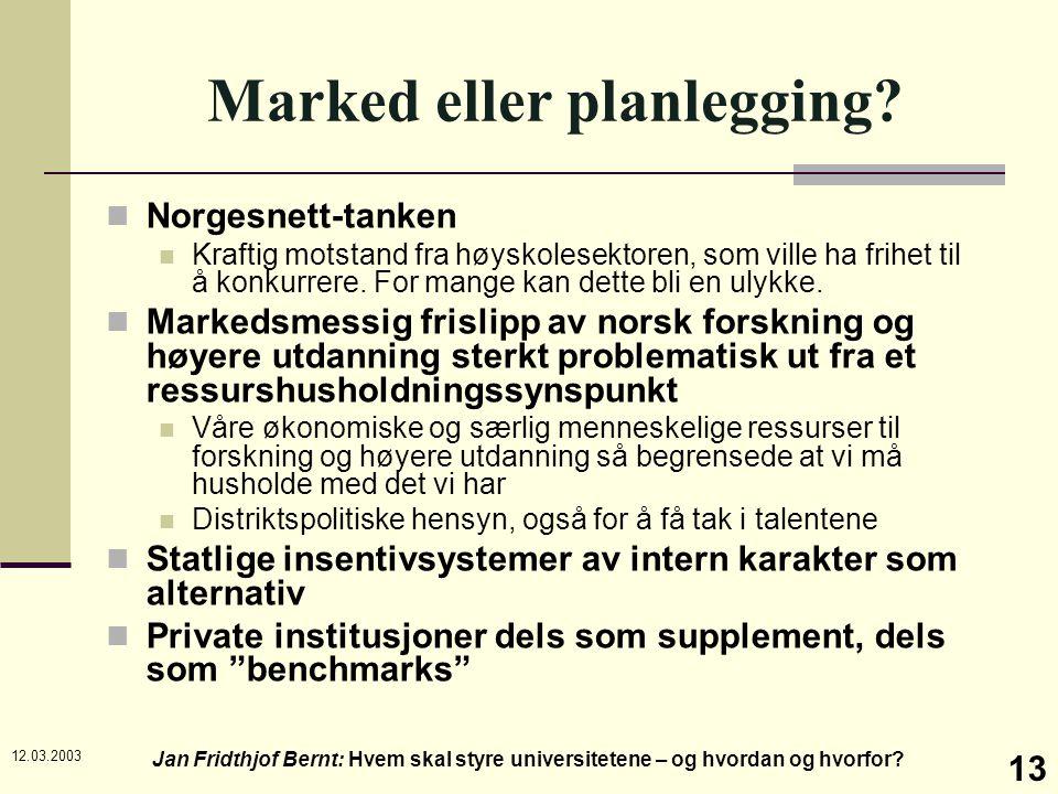 12.03.2003 Jan Fridthjof Bernt: Hvem skal styre universitetene – og hvordan og hvorfor? 13 Marked eller planlegging? Norgesnett-tanken Kraftig motstan