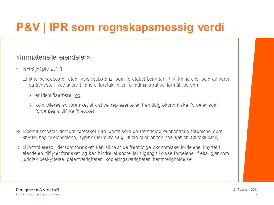 «Immaterielle eiendeler» NRS(F) pkt 2.1.1  ikke-pengeposter uten fysisk substans, som foretaket benytter i tilvirkning eller salg av varer og tjenester, ved utleie til andre foretak, eller for administrative formål, og som:  er identifiserbare, og  kontrolleres av foretaket slik at de representerer fremtidig økonomiske fordeler som forventes å tilflyte foretaket  «Identifiserbar»: dersom foretaket kan identifisere de fremtidige økonomiske fordelene som knytter seg til eiendelene, typisk i form av salg, utleie eller annen realisasjon («utskillbar»)  «Kontrolleres»: dersom foretaket kan sikre at de fremtidige økonomiske fordelene knyttet til eiendelen tilflyter foretaket og kan hindre at andre får tilgang til disse fordelene, f.eks.