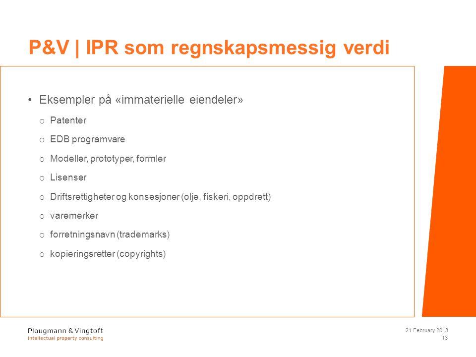 Eksempler på «immaterielle eiendeler» o Patenter o EDB programvare o Modeller, prototyper, formler o Lisenser o Driftsrettigheter og konsesjoner (olje, fiskeri, oppdrett) o varemerker o forretningsnavn (trademarks) o kopieringsretter (copyrights) 21 February 2013 13 P&V | IPR som regnskapsmessig verdi