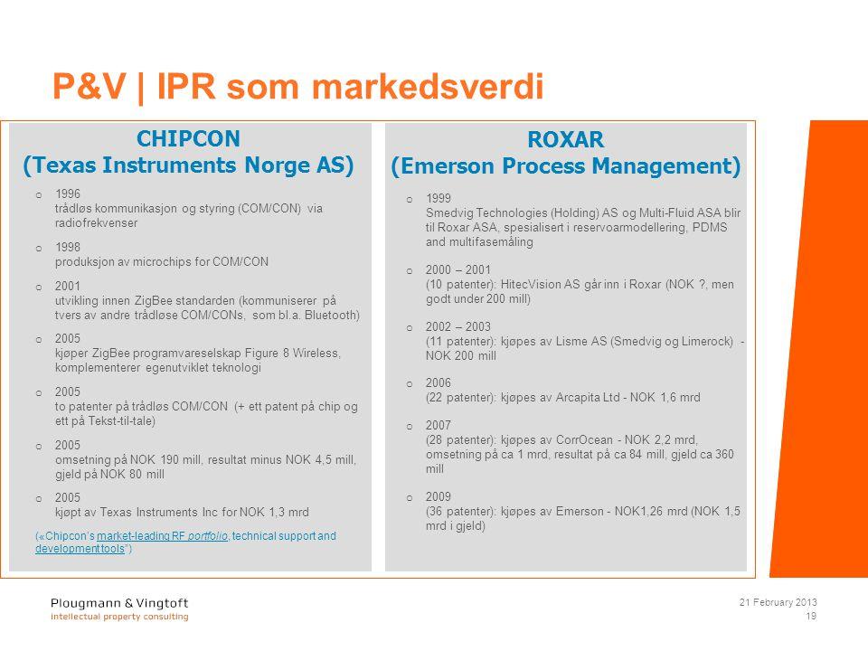 CHIPCON (Texas Instruments Norge AS) o 1996 trådløs kommunikasjon og styring (COM/CON) via radiofrekvenser o 1998 produksjon av microchips for COM/CON o 2001 utvikling innen ZigBee standarden (kommuniserer på tvers av andre trådløse COM/CONs, som bl.a.