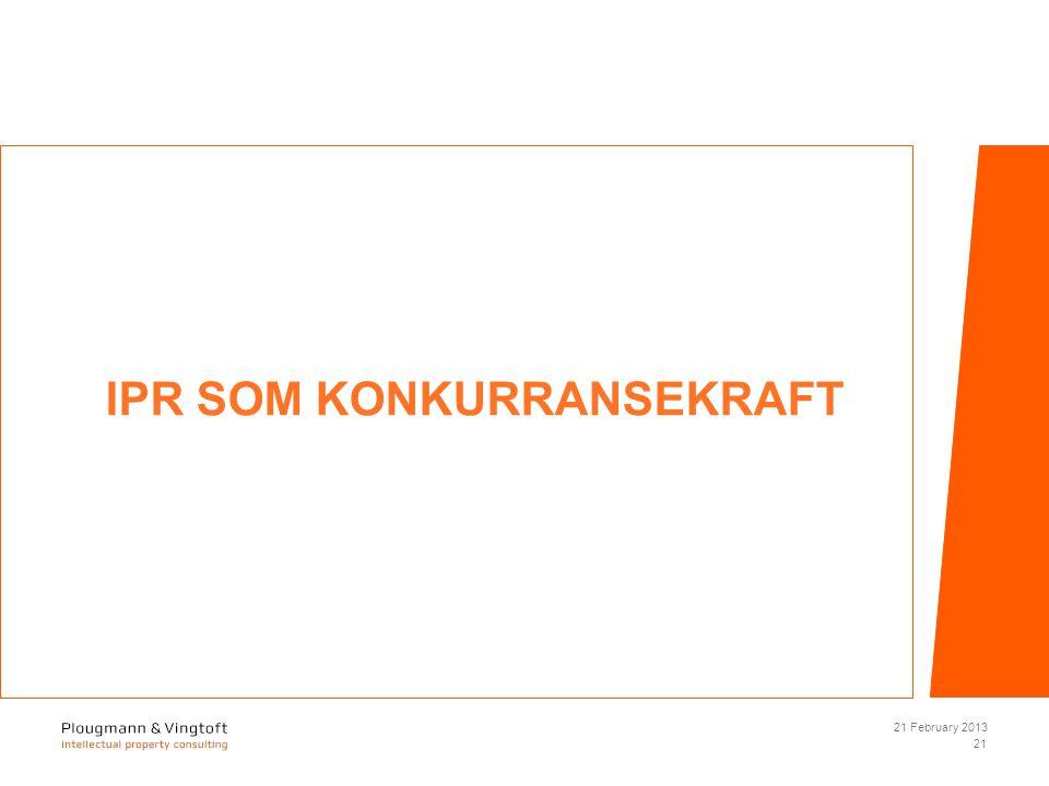 IPR SOM KONKURRANSEKRAFT 21 February 2013 21