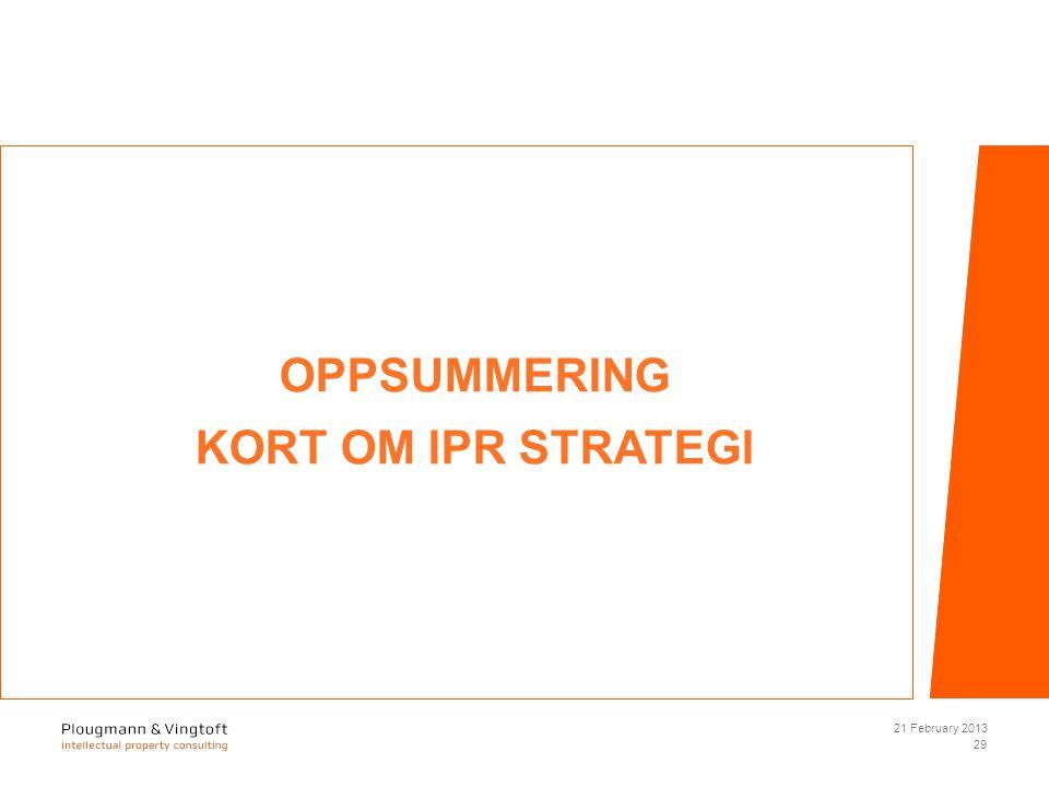 OPPSUMMERING KORT OM IPR STRATEGI 21 February 2013 29