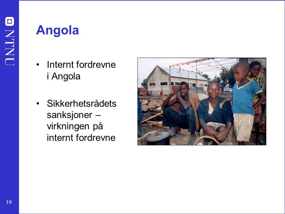 19 Angola Internt fordrevne i Angola Sikkerhetsrådets sanksjoner – virkningen på internt fordrevne