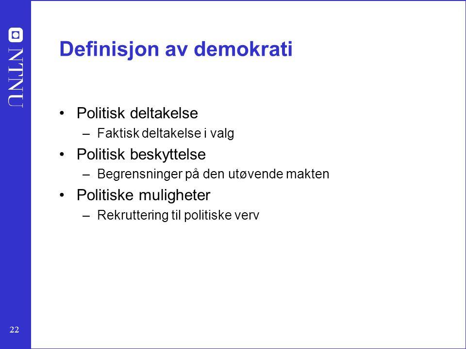 22 Definisjon av demokrati Politisk deltakelse –Faktisk deltakelse i valg Politisk beskyttelse –Begrensninger på den utøvende makten Politiske mulighe