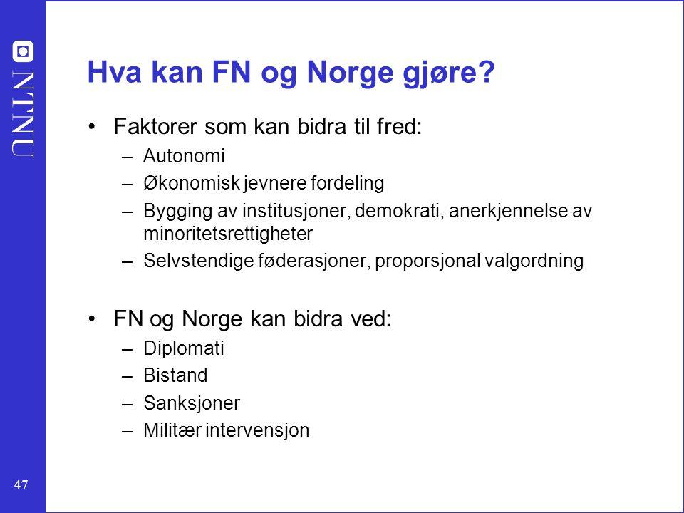 47 Hva kan FN og Norge gjøre? Faktorer som kan bidra til fred: –Autonomi –Økonomisk jevnere fordeling –Bygging av institusjoner, demokrati, anerkjenne