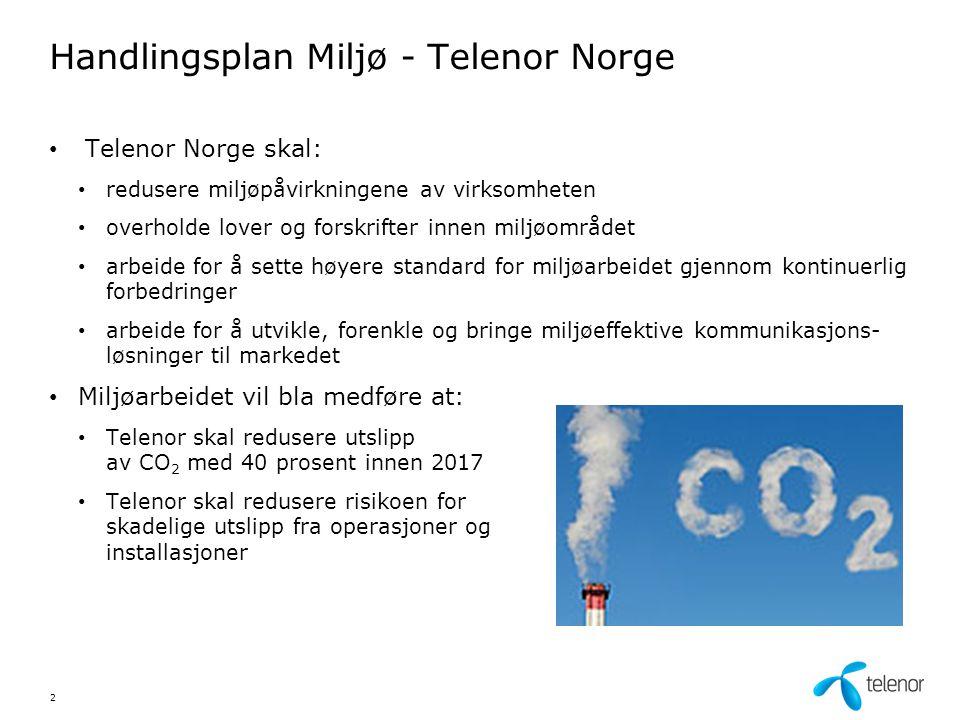 Handlingsplan Miljø - Telenor Norge Telenor Norge skal: redusere miljøpåvirkningene av virksomheten overholde lover og forskrifter innen miljøområdet
