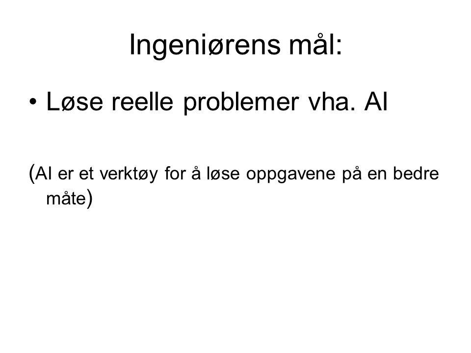 Ingeniørens mål: Løse reelle problemer vha. AI ( AI er et verktøy for å løse oppgavene på en bedre måte )