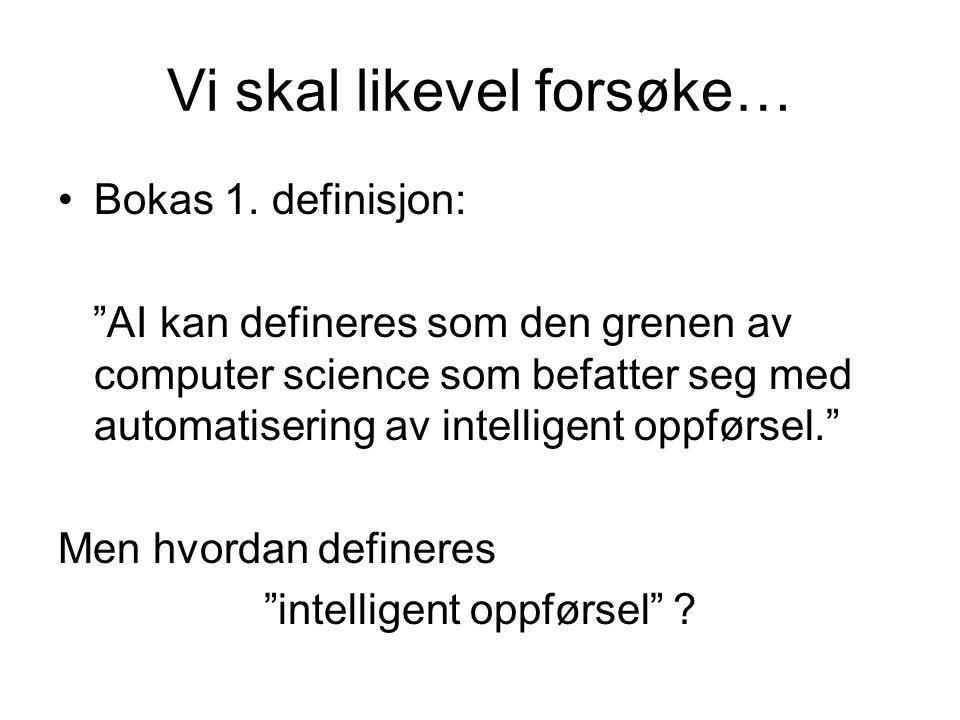 """Vi skal likevel forsøke… Bokas 1. definisjon: """"AI kan defineres som den grenen av computer science som befatter seg med automatisering av intelligent"""