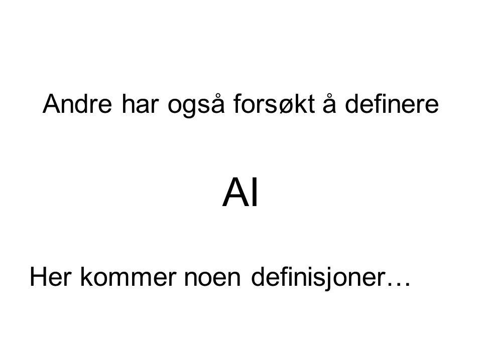 Andre har også forsøkt å definere AI Her kommer noen definisjoner…