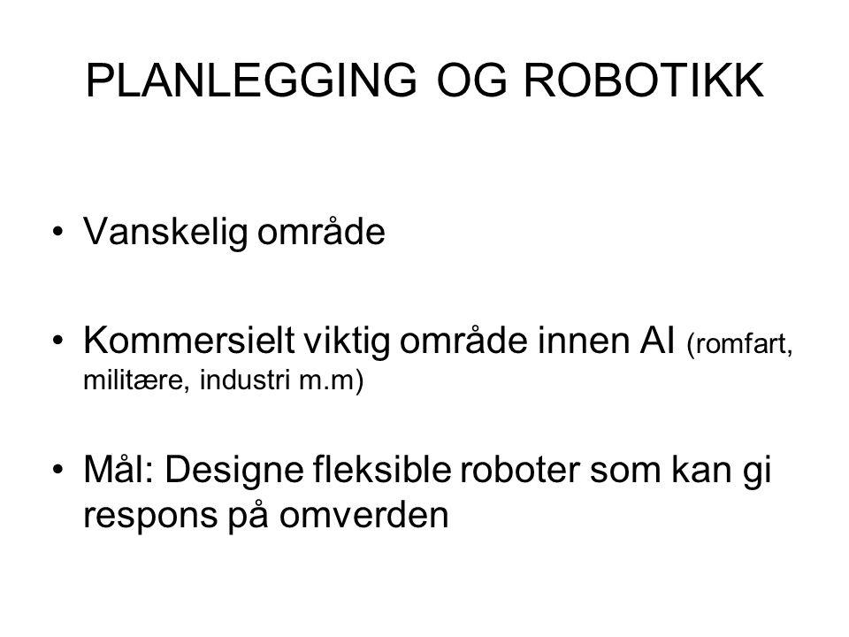 PLANLEGGING OG ROBOTIKK Vanskelig område Kommersielt viktig område innen AI (romfart, militære, industri m.m) Mål: Designe fleksible roboter som kan g