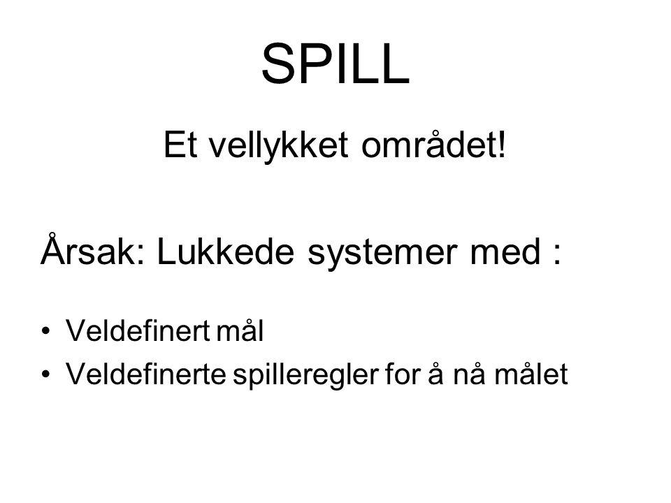 SPILL Et vellykket området! Årsak: Lukkede systemer med : Veldefinert mål Veldefinerte spilleregler for å nå målet