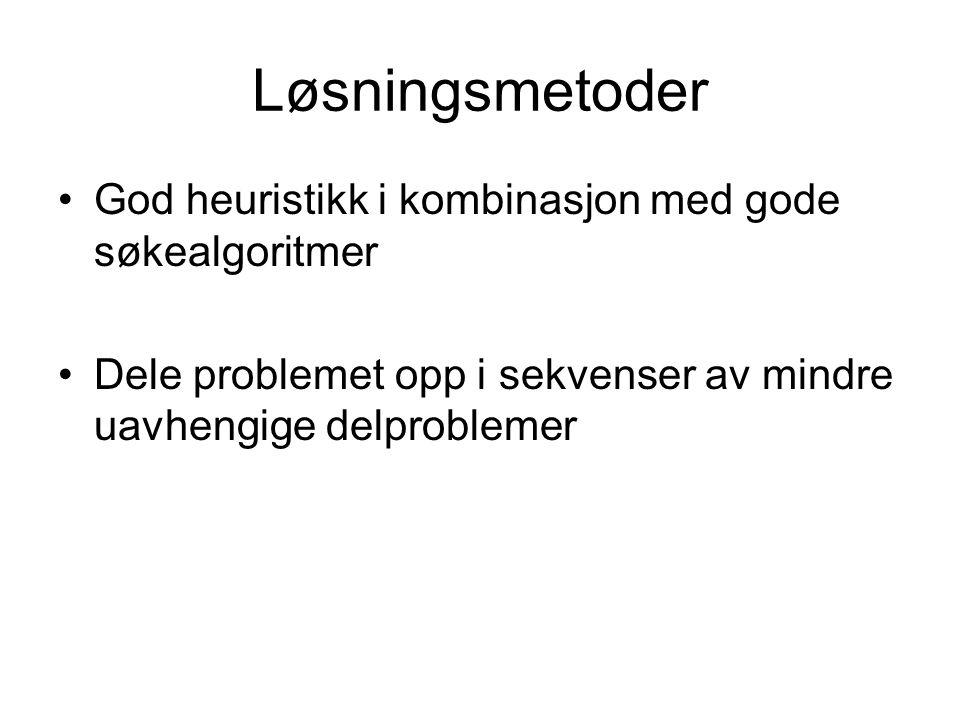 Løsningsmetoder God heuristikk i kombinasjon med gode søkealgoritmer Dele problemet opp i sekvenser av mindre uavhengige delproblemer