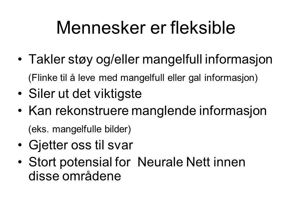 Mennesker er fleksible Takler støy og/eller mangelfull informasjon (Flinke til å leve med mangelfull eller gal informasjon) Siler ut det viktigste Kan