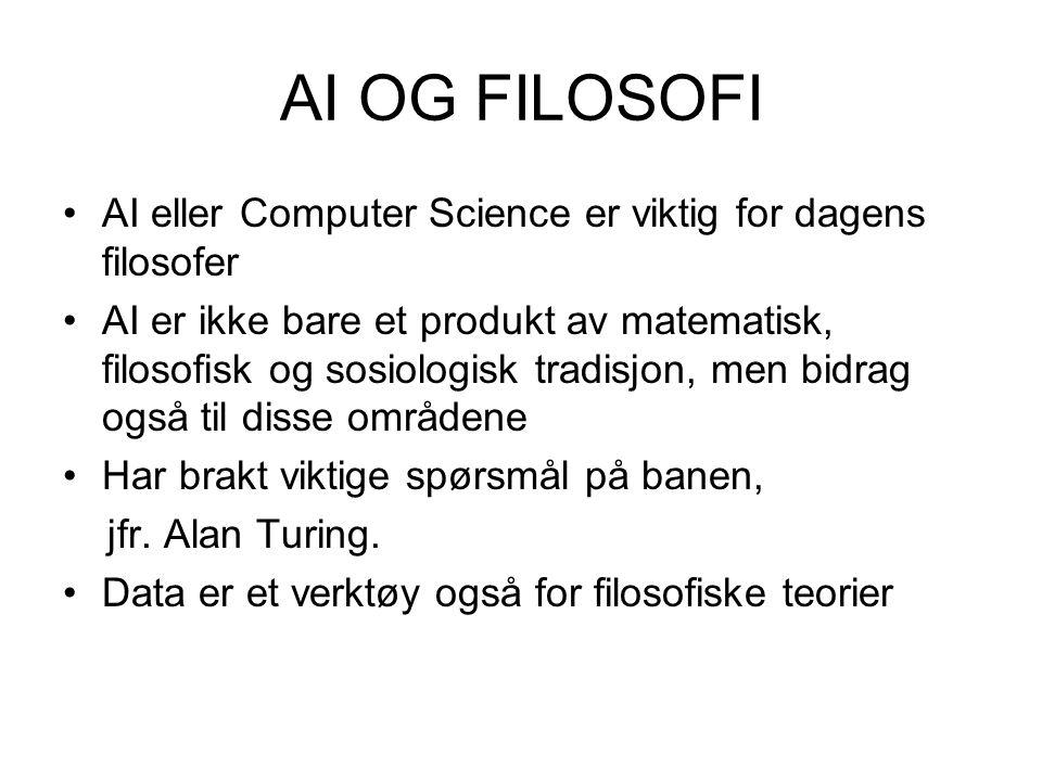 AI OG FILOSOFI AI eller Computer Science er viktig for dagens filosofer AI er ikke bare et produkt av matematisk, filosofisk og sosiologisk tradisjon,