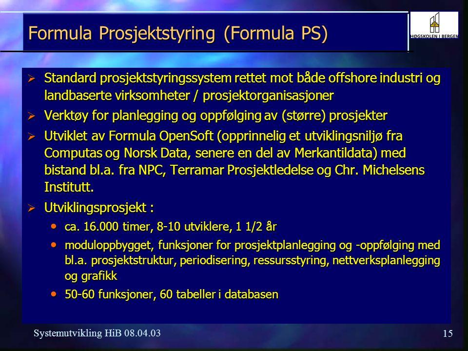 15 Systemutvikling HiB 08.04.03 Formula Prosjektstyring (Formula PS)  Standard prosjektstyringssystem rettet mot både offshore industri og landbasert