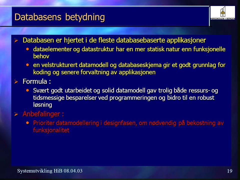 19 Systemutvikling HiB 08.04.03 Databasens betydning  Databasen er hjertet i de fleste databasebaserte applikasjoner dataelementer og datastruktur ha