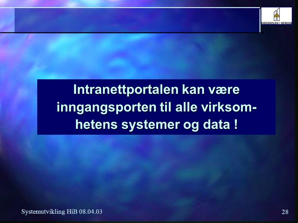 28 Systemutvikling HiB 08.04.03 Intranettportalen kan være inngangsporten til alle virksom- hetens systemer og data !