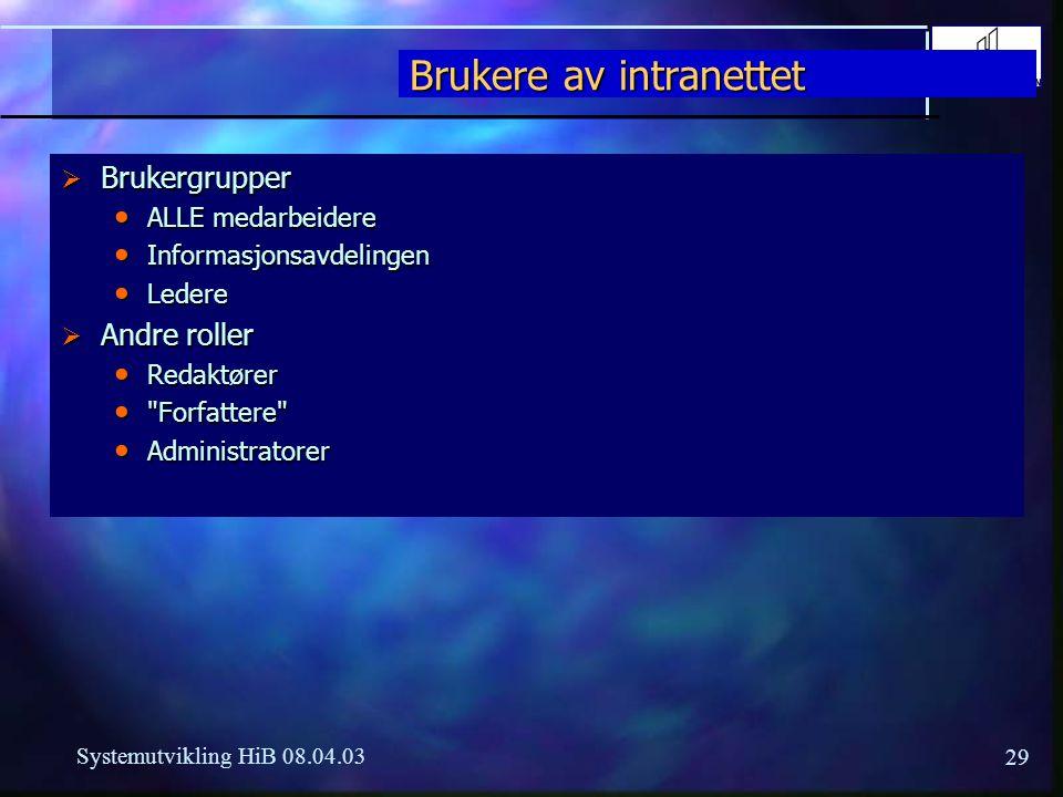 29 Systemutvikling HiB 08.04.03 Brukere av intranettet  Brukergrupper ALLE medarbeidere ALLE medarbeidere Informasjonsavdelingen Informasjonsavdeling