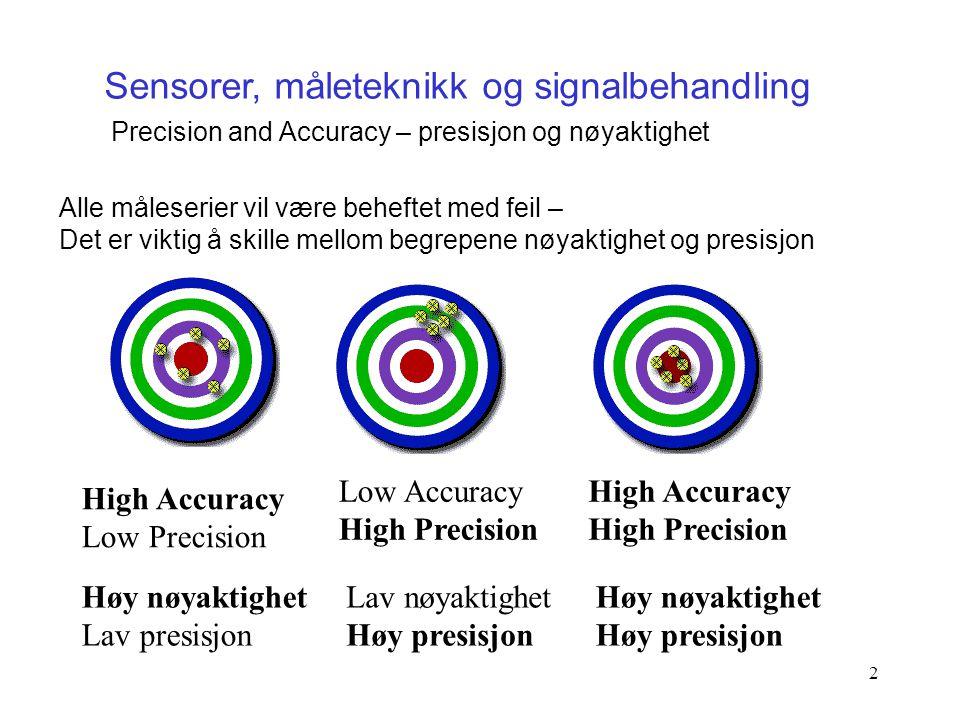 2 Sensorer, måleteknikk og signalbehandling Precision and Accuracy – presisjon og nøyaktighet Alle måleserier vil være beheftet med feil – Det er vikt
