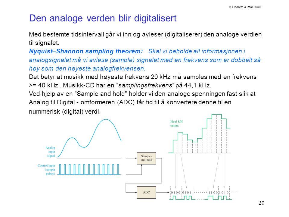 20 Med bestemte tidsintervall går vi inn og avleser (digitaliserer) den analoge verdien til signalet. Nyquist–Shannon sampling theorem: Skal vi behold