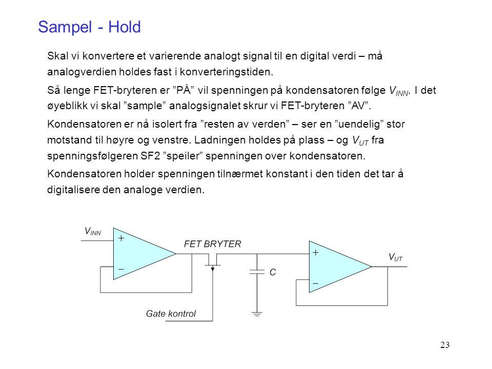 23 Sampel - Hold Skal vi konvertere et varierende analogt signal til en digital verdi – må analogverdien holdes fast i konverteringstiden. Så lenge FE