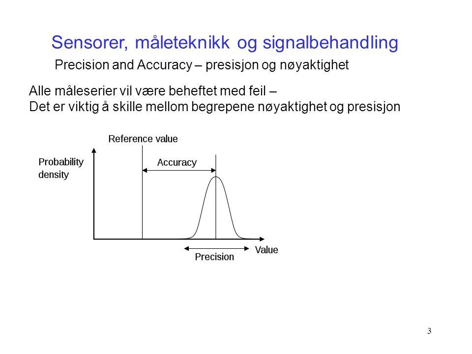 3 Sensorer, måleteknikk og signalbehandling Precision and Accuracy – presisjon og nøyaktighet Alle måleserier vil være beheftet med feil – Det er vikt