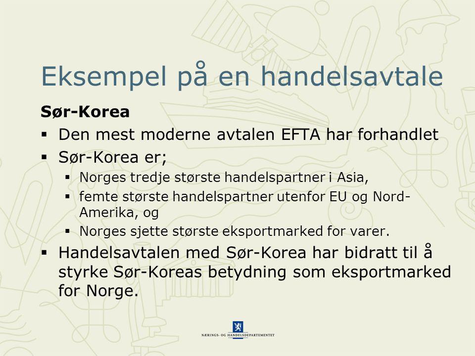Eksempel på en handelsavtale Sør-Korea  Den mest moderne avtalen EFTA har forhandlet  Sør-Korea er;  Norges tredje største handelspartner i Asia, 