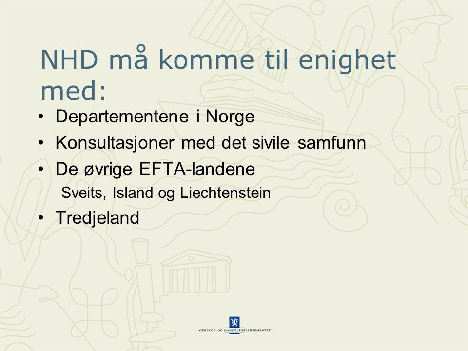 NHD må komme til enighet med: Departementene i Norge Konsultasjoner med det sivile samfunn De øvrige EFTA-landene Sveits, Island og Liechtenstein Tred