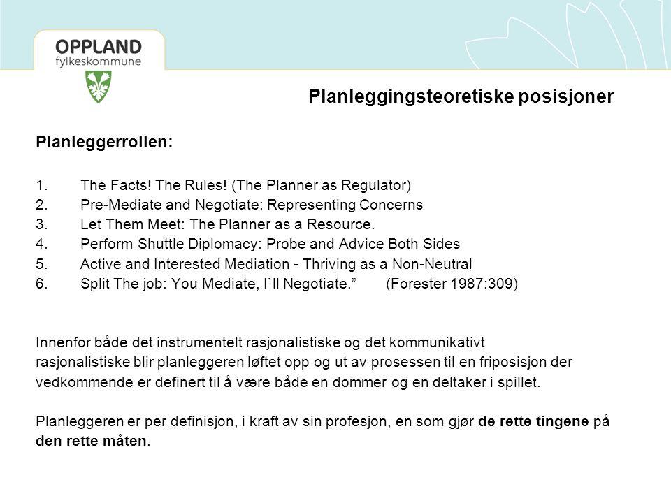 Planleggingsteoretiske posisjoner Planleggerrollen: 1.The Facts.
